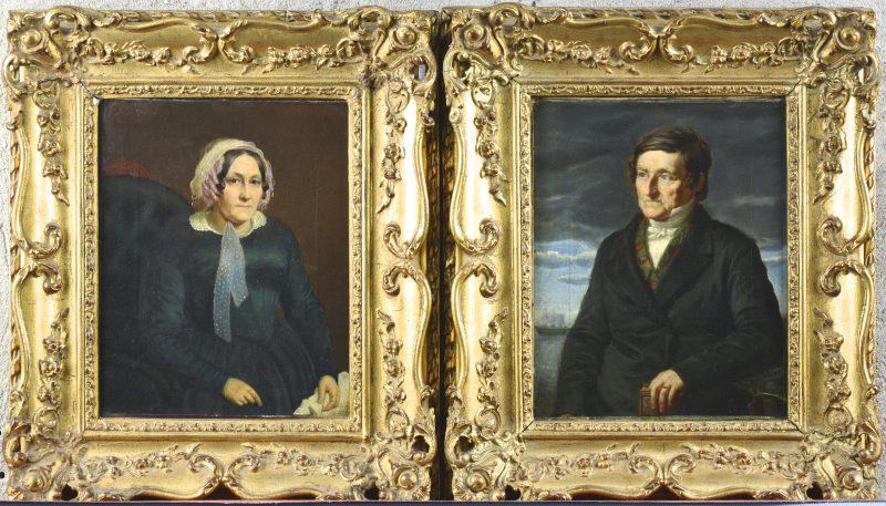 """""""Portret van een man en van een vrouw"""". Olieverf op doek. Twee pendants. Omstreeks 1850."""