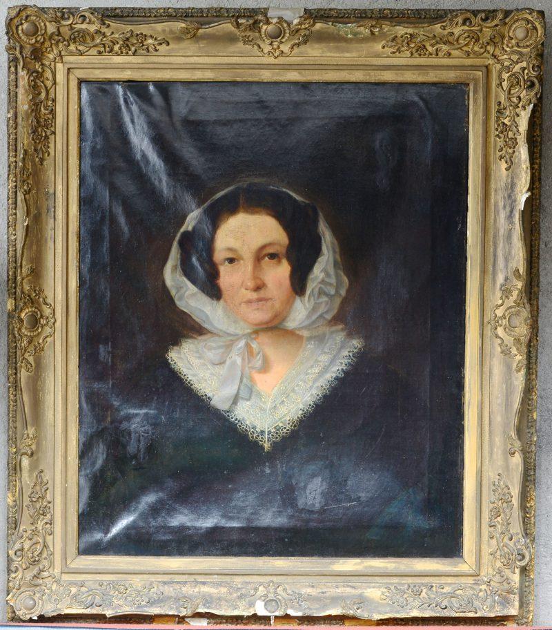 """""""Damesportret met kanten kraag"""". Olieverf op doek. Belgische School, XIXde eeuw. Letsels aan doek en lijst."""