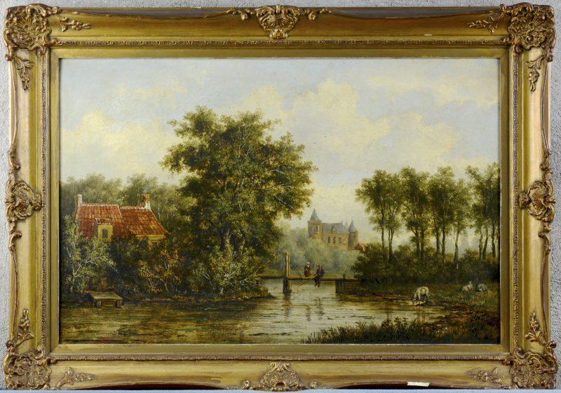 """""""Waterlandschap met vissers"""". Olieverf op doek. Gesigneerd en gedateerd 1867."""