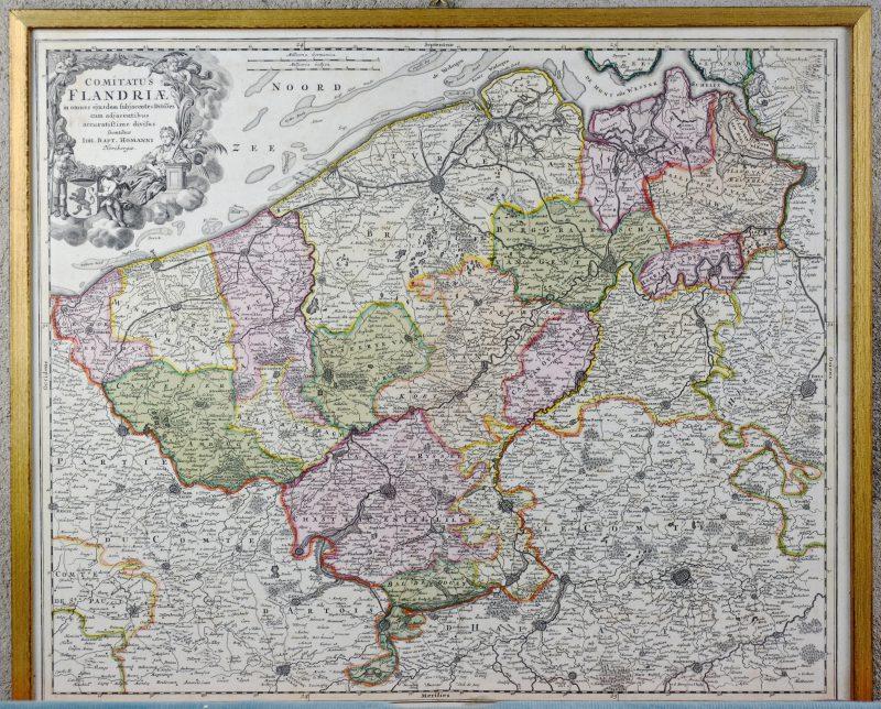 """""""Flandriae"""". Een oude, met de hand ingekleurde kaart."""