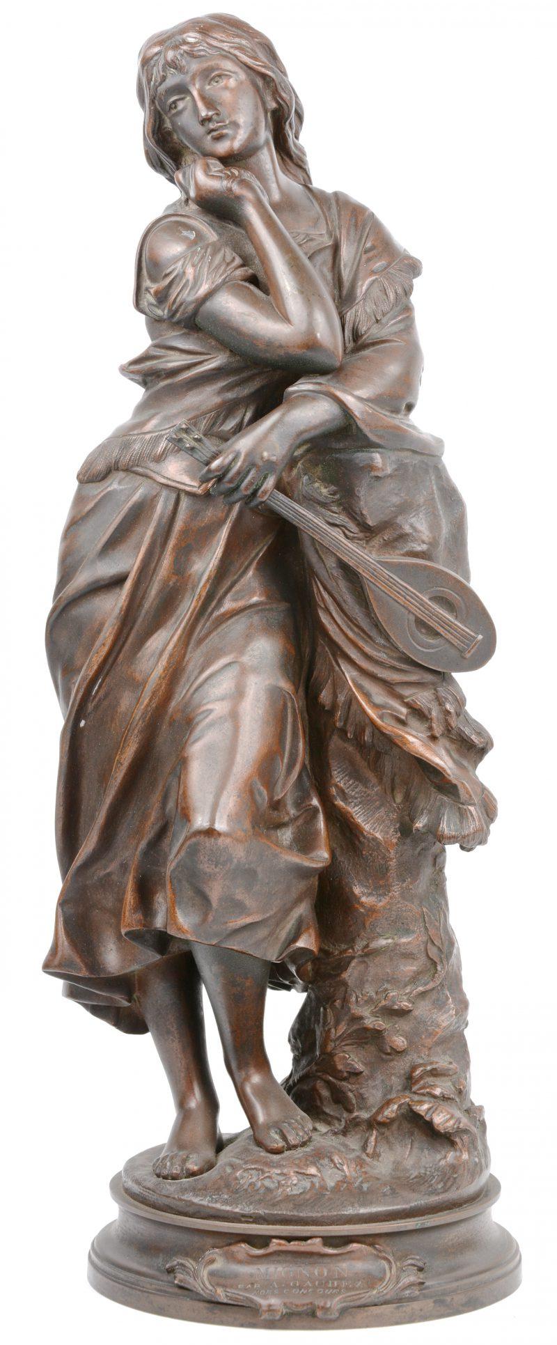 """""""Mignon"""". Een bronzen beeld. Gesigneerd."""