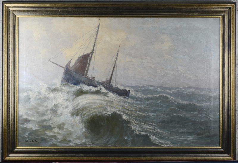 """Vissersboot op woelige zee"". Olieverf op doek. Gesigneerd."