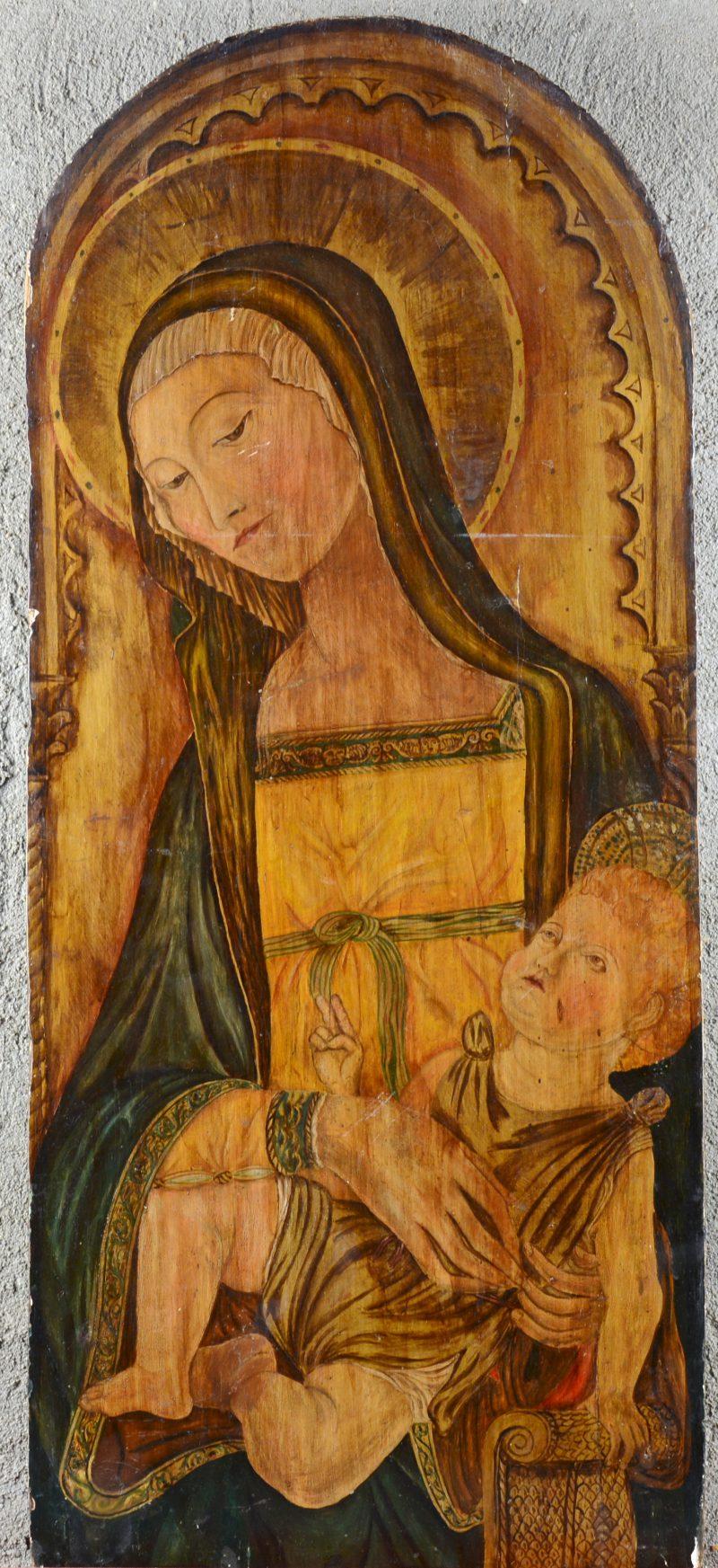 """""""Madonna met kind"""". Olieverf op paneel. Vroeg XIXe eeuw."""