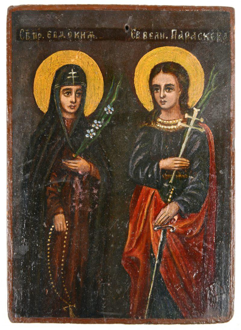 Een 19de eeuws Russisch icoon met twee heiligen.