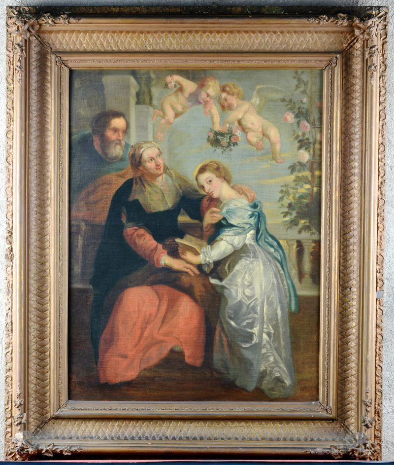 """""""De bijbellezing."""" Olieverf op doek, naar een werk van Rubens. XIXde eeuw."""