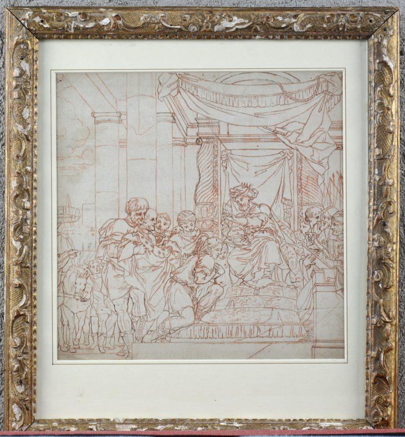 """""""Oud-Bijbelse voorstelling"""". Inkt en sanguine op papier. XVIIIe eeuw."""