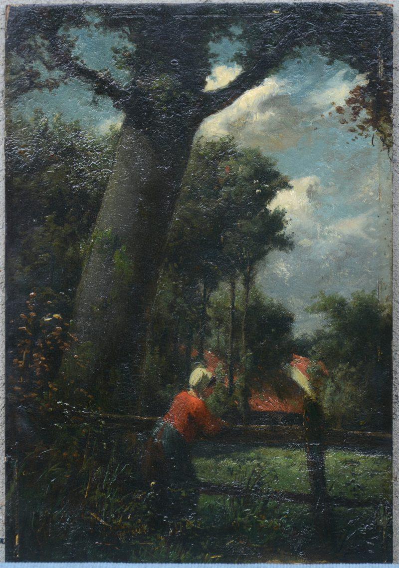 """""""Vrouw, leunend tegen een omheining onder een boom"""". Olieverf op paneel. Vermoedelijk G. B. Brunfaut, maar zonder signatuur. XIXe eeuw."""