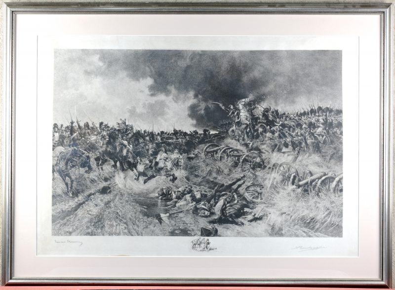 """""""Napoleontische veldslag"""". Een XIXe eeuwse gravure. Gesigneerd buiten de plaat."""