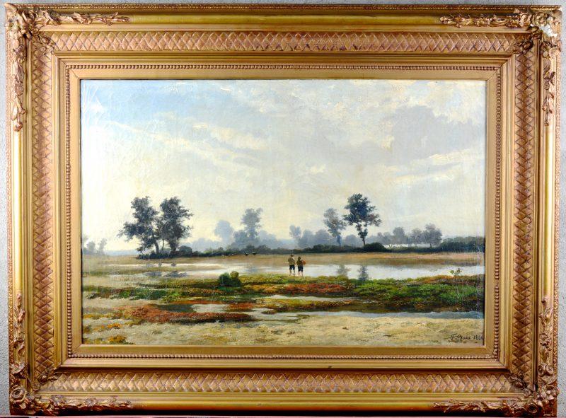 """""""Twee jongens in een veenlandschap"""". Olieverf op doek. Gesigneerd en gedateerd 1866."""