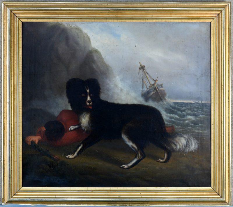 """""""Hond bij een drenkeling op het strand"""". Olieverf op doek. Eind XIXe eeuw. Gesigneerd."""