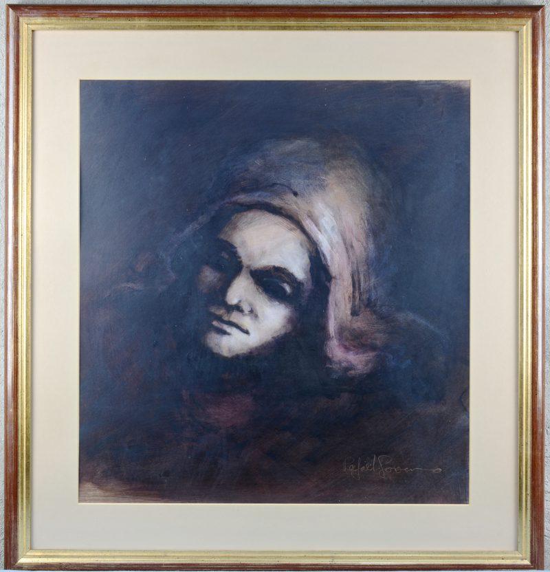 """""""Vrouwenportret"""". Pastel op papier. Gesigneerd."""