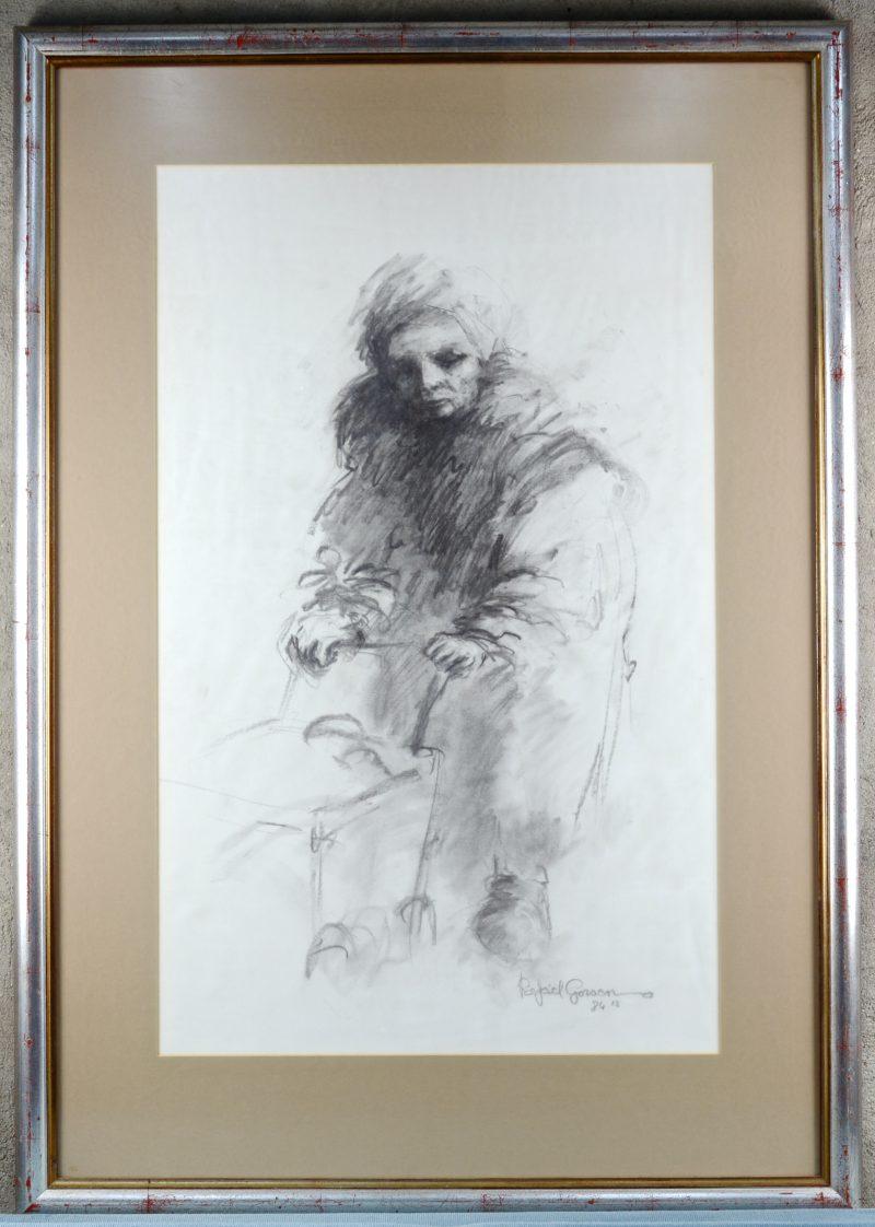 """""""Portret van een burgervrouw"""". Een lithografie. Gesigneerd en gedateerd '87 binnen de plaat."""
