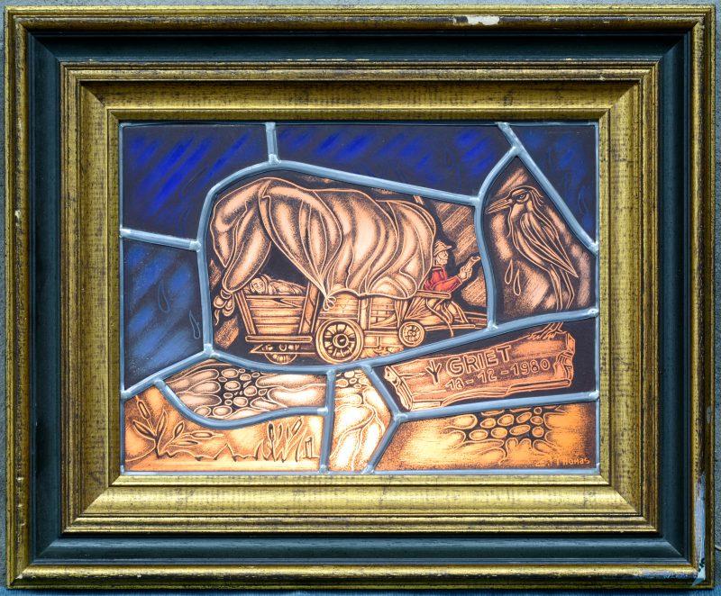 """""""Griet 16-12-1980"""". Een glasraam in lichtbak naar aanleiding van een geboorte. Gesigneerd en gedateerd 1987."""
