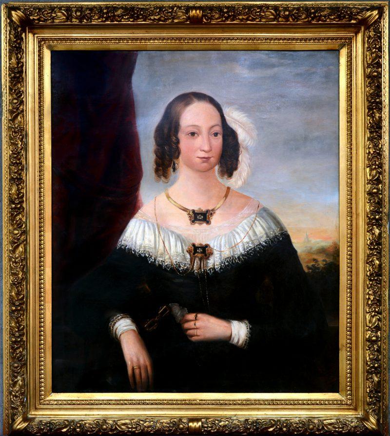 """""""Damesportret. Jeanne Marie Vermoelen-Claessens (1809-1868)"""". Olieverf op doek. Belgische School, XIXde eeuw."""