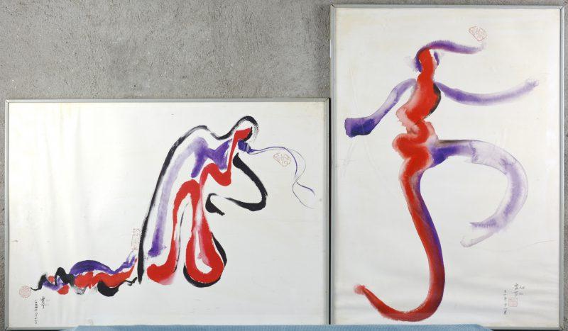 Twee Chinese aquarellen. Non-figuratief.