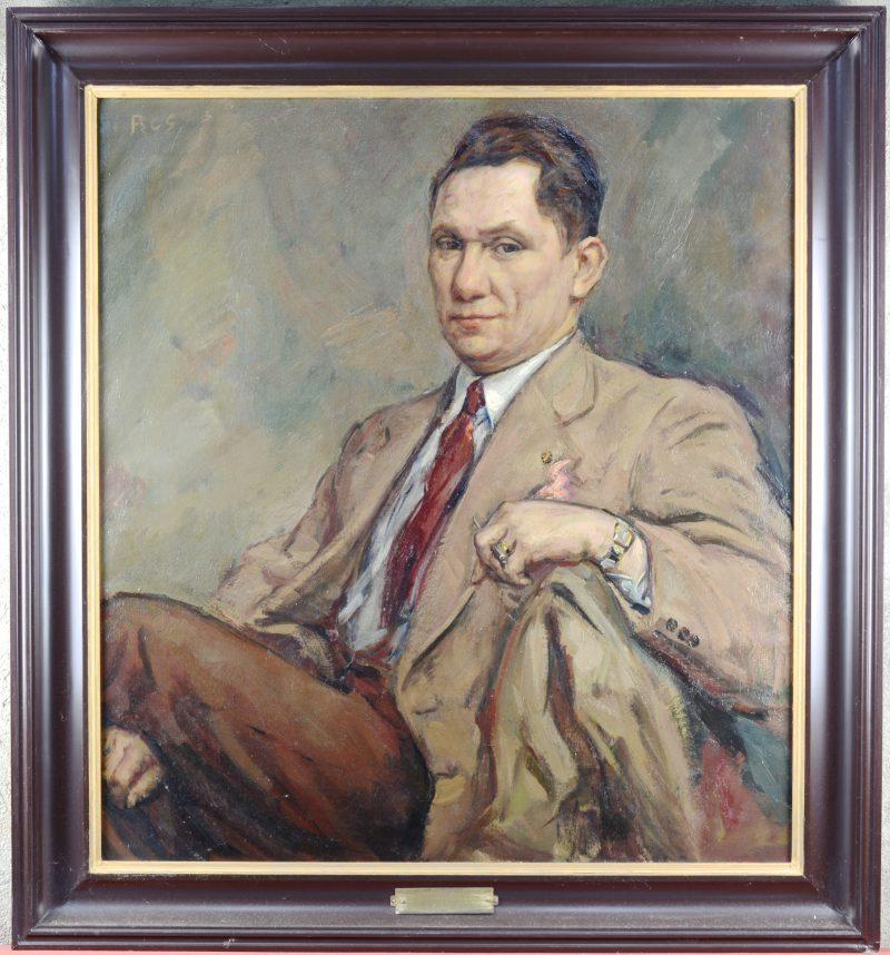 """""""Portret van Pierre Bruynseels, stichter van de Lierse Persbond"""". Olieverf op doek. Gesigneerd links bovenaan. Een zeldzaam portret van de hand van Ros, bekend om zijn kerkinterieurs."""