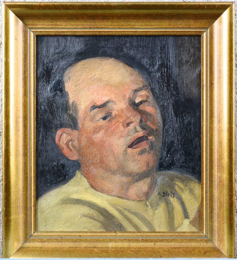 """""""Mannenportret"""". Olieverf op gemaroufleerd doek. Gesigneerd."""