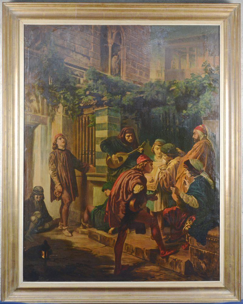 """""""De Serenade"""". Kopie naar Domenico Morelli (XIXde eeuw). Olieverf op doek."""