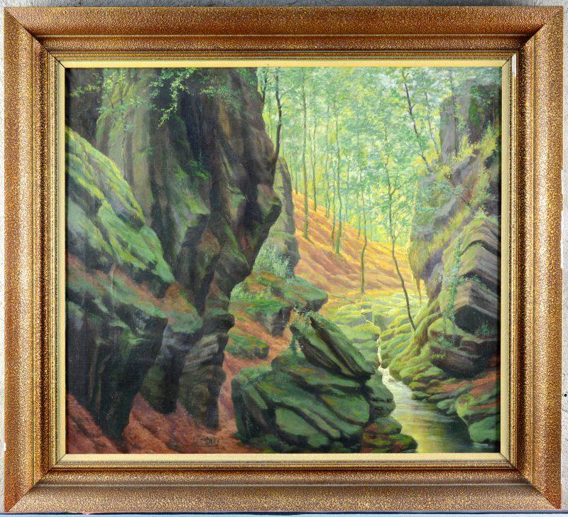"""""""Riviertje in een bos"""". Olieverf op doek. Gesigneerd."""