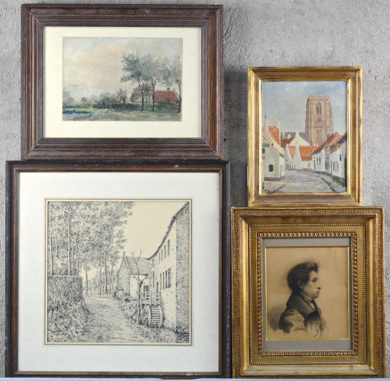 Een lot bestaande uit een aquarel, een pentekening, een olieverfschilderijtje en een lithografie.