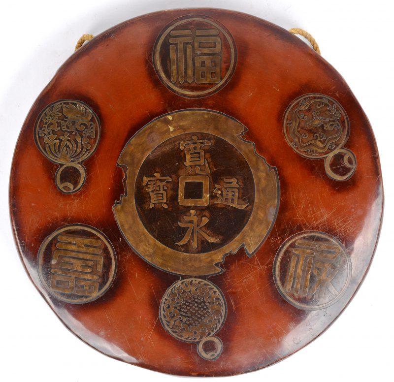 Een Japanse gong van rood koper.