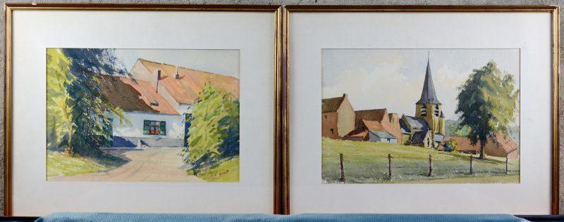 """""""Dorpszicht"""" & """"Hoevezicht"""". Twee aquarellen op papier. Beide gesigneerd."""