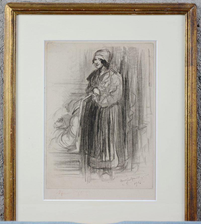 """""""Portret van een verpleegster."""" Ets, gedateerd 1916. Buiten de plaat gesigneerd."""