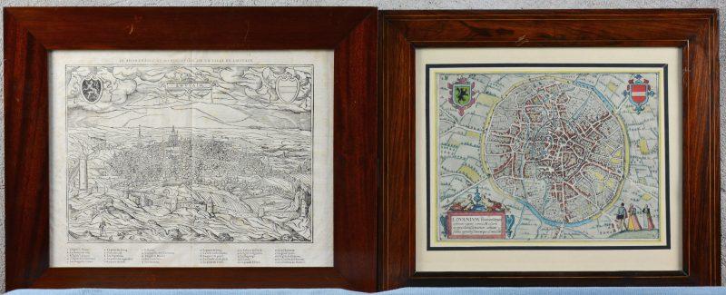 Twee XVIIIe eeuwse kaarten van Leuven, waarbij één met de hand ingekleurd.