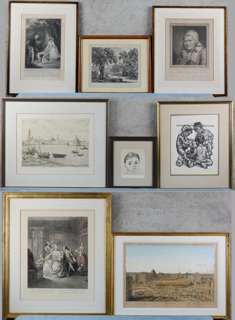 Een lot van vijf verschillende XIXe eeuwse grafische werken.