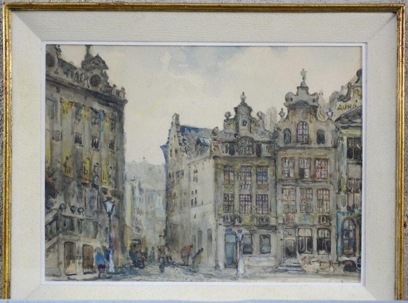 """Grote Markt Brussel"". Aquarel. Gesigneerd en gedateerd 1940."