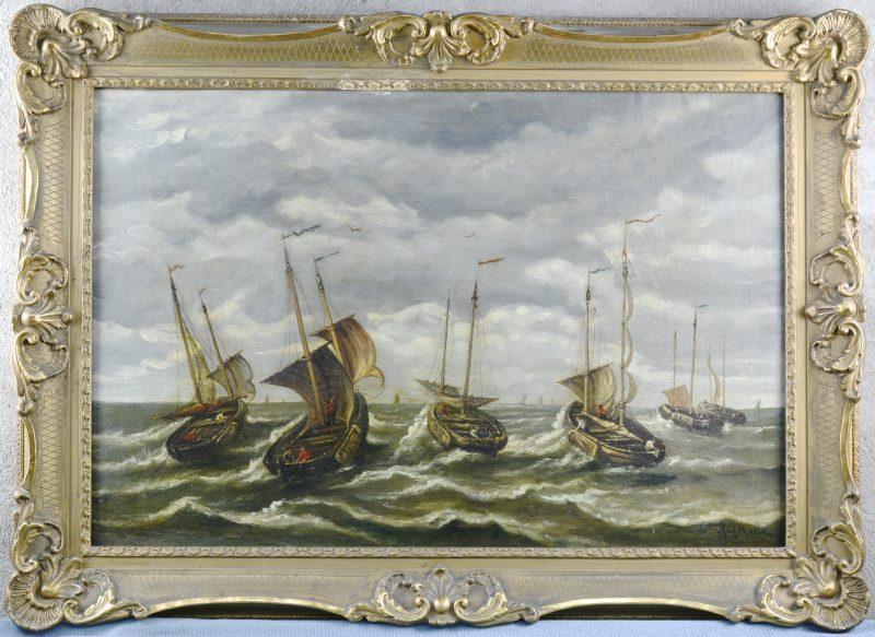 """""""Uitvarende vissersboten"""". Olieverf op doek. Gesigneerd."""
