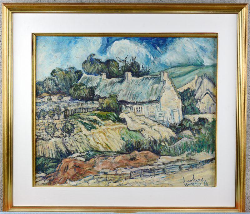 """""""Landschap naar Van Gogh"""". Olieverf op paneel. Gesigneerd."""