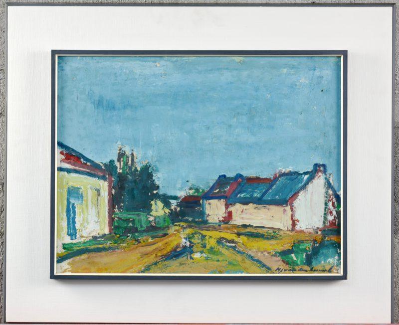 """""""Huizen bij een landweg"""". Olieverf op doek. Gesigneerd."""