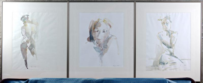 """""""Vrouwenportretten"""". Drie aquarelstudies op papier. Gesigneerd 1994, 1995 & 1996."""