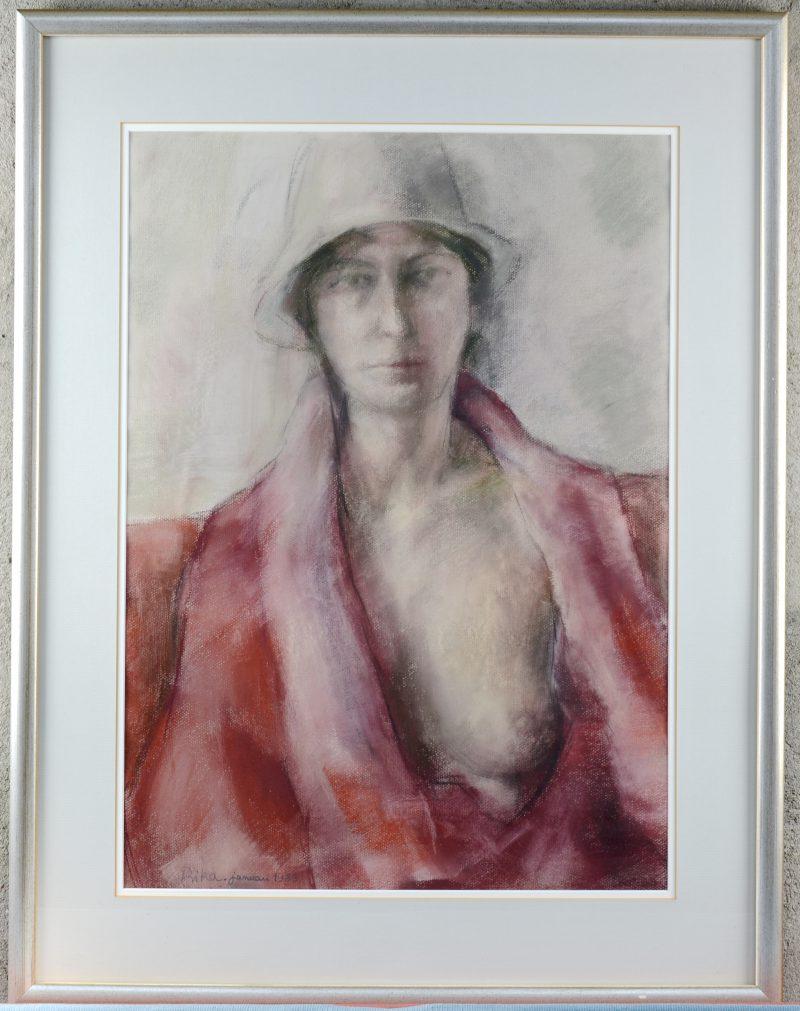 """""""Portret van een vrouw met ontblote borst"""". Pastel op papier. Gesigneerd en gedateerd januari 1983."""