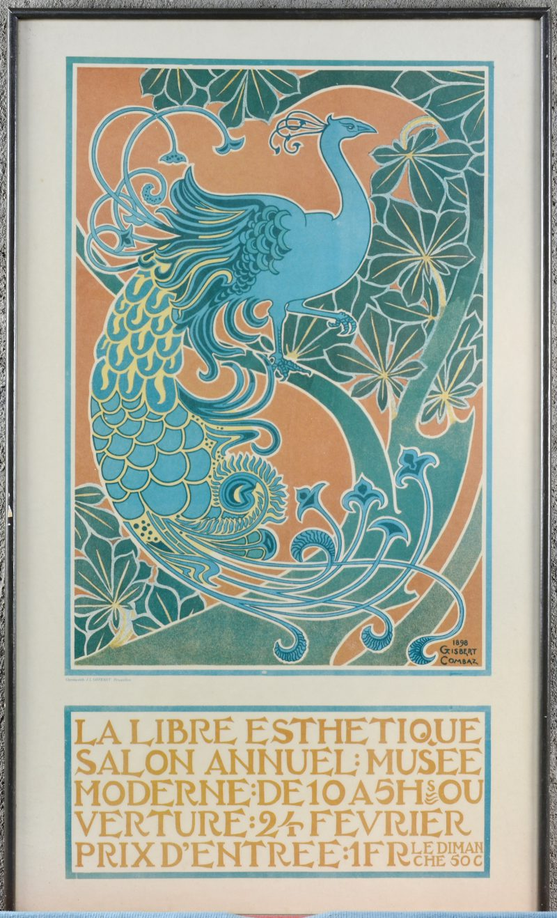"""""""La libre Esthetique..."""". Een reproductie van een laat XIX eeuwse affiche."""