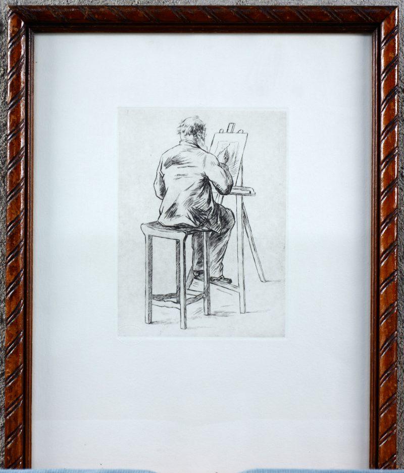 """""""De schilder"""". Een ets. Postume uitgave van het prentenkabinet. Met papierstempel."""