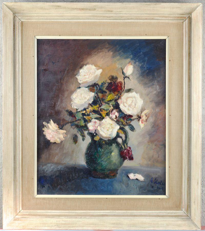 """""""vaas met rozen"""". Olieverf op doek. Gesigneerd en gedateerd 1966."""