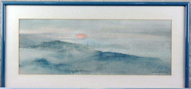 """""""Ondergaande zon boven de Noordzee"""". Aquarel. Gesigneerd."""