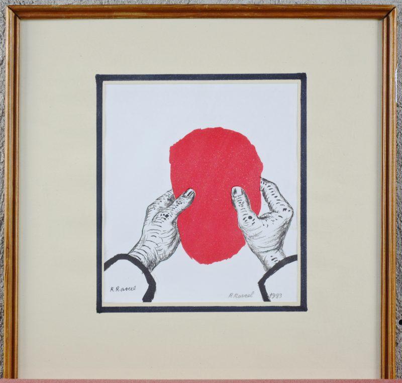 """""""Rood vlak en handen"""". Kleurenlitho. Draagt een handtekening: R. Raveel en gedateerd 1983."""
