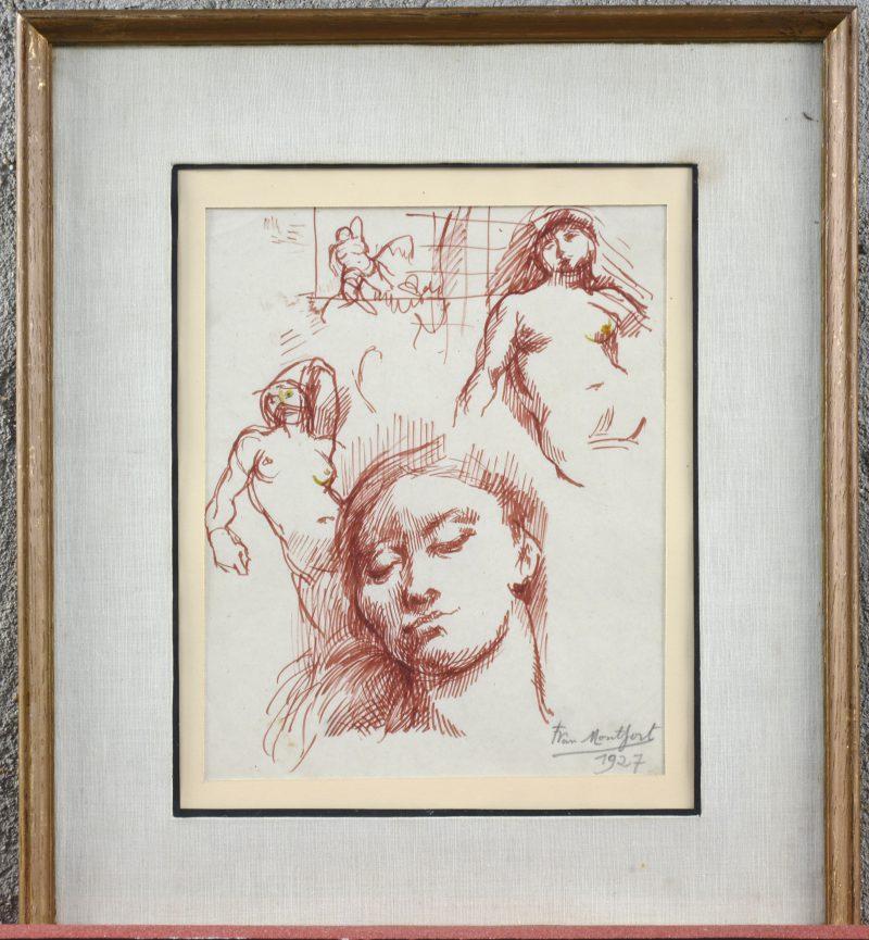 """""""Studie"""". Bruine inkt op papier. Gesigneerd en gedateerd 1927."""