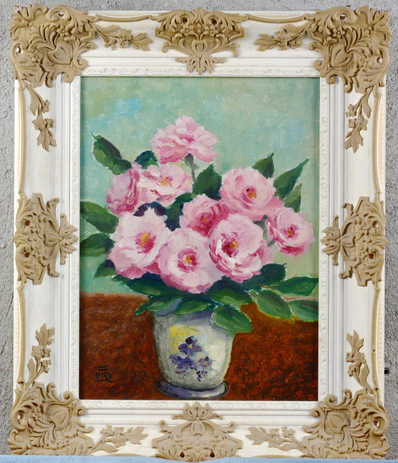 """""""Vaas met rozen"""". Olieverf op doek. Gemonogrammeerd."""