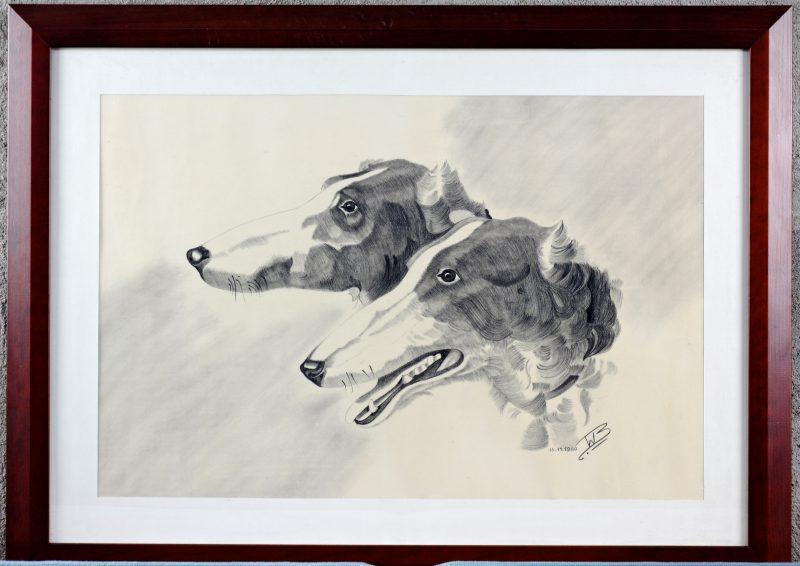 """""""Honden"""". Een potloodtekenig op papier. Gesigneerd en gedateerd."""