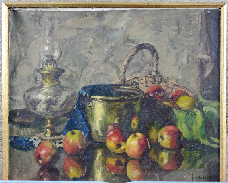 """""""Stilleven met koper en fruit'. Olieverf op doek. Doek opnieuw op te spannen."""