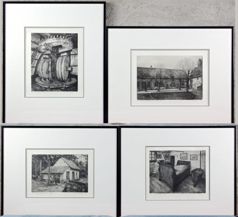 """""""Vier zwart-wit litho's met gebouwen en interieurs"""". Gesigneerd buiten de plaat."""