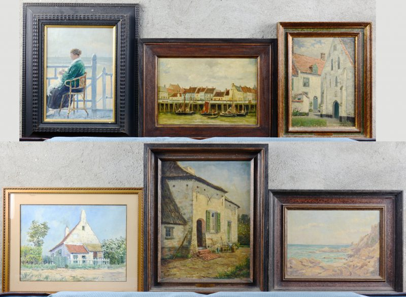 Een lot van vijf olieverfschilderijen en een aquarel. Allen gesigneerd.