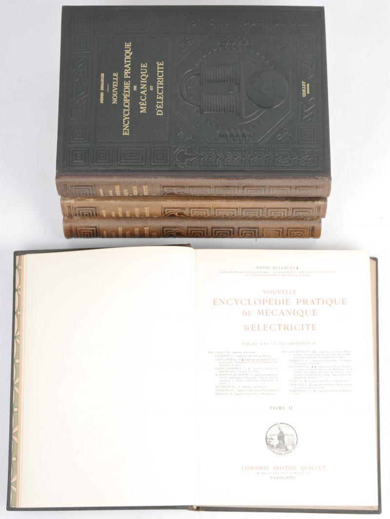 """Henri Desarces. """"Nouvelle Encyclopédie Pratique de Mécanique et d'Electricité"""". Ed. Quillet, Paris, 1924. 4 delen, in-4°, goede staat, mooie harde covers met reliëfdruk. Deel 4 is de """"Atlas"""" met 14 uitklapbare kleurenmodellen."""