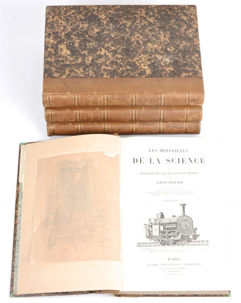 """Louis Figuier. """"Les Merveilles de la Science"""". 4 delen. Ed. Furne, Jouvet & Cie, Paris, 1867-1870. In-4°, mooie staat. Talrijke afbeeldingen in de tekst."""