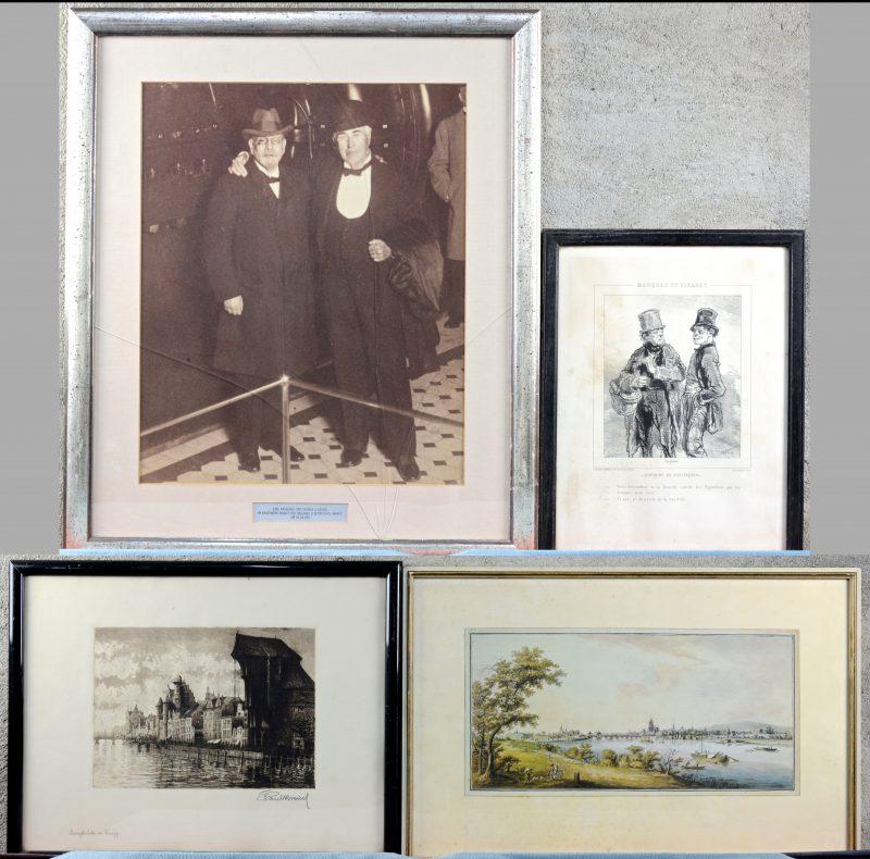Een reproductie, een foto van Thomas Edison, een ets en een ingekaderde prent uit 'Masques et visages'