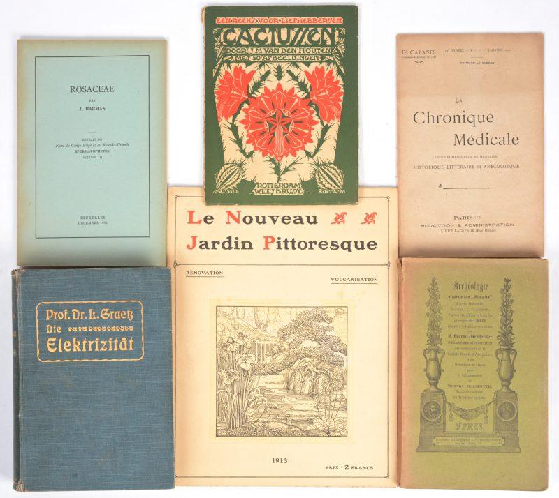 """Een lot wetenschappelijke boeken, hoofdzakelijk Duitstalig. XIXe en XXe eeuw. Bijgevoegd een groot lot nummers van het tijdschrift """"La Chronique Médicale"""" van het begin van de XXe eeuw."""